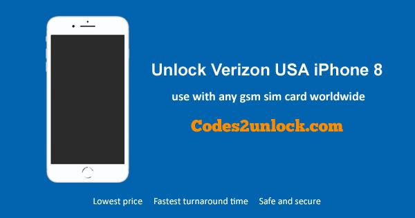 Unlock Verizon USA iPhone 8, Unlock iPhone 8 Verizon USA