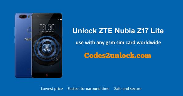Unlock ZTE Nubia Z17 Lite, ZTE Nubia Z17 Lite Unlock Code,