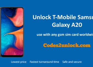 Unlock T-Mobile Samsung Galaxy A20