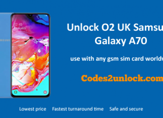 Unlock O2 UK Samsung Galaxy A70