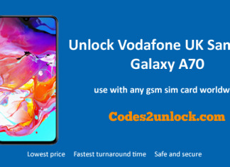 Unlock Vodafone UK Samsung Galaxy A70